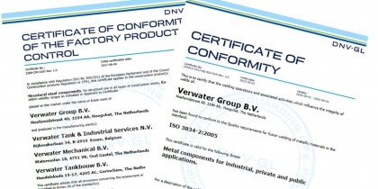 Verwater extends quality certificates ISO3834 and EN1090